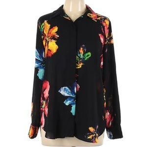 Mossimo floral abstract paint long sleeve blouse